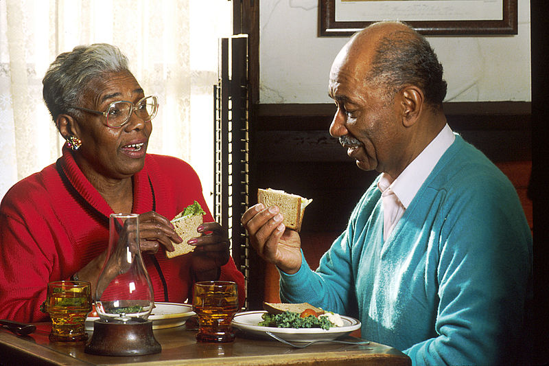 African American romantic relationship couple dining picture